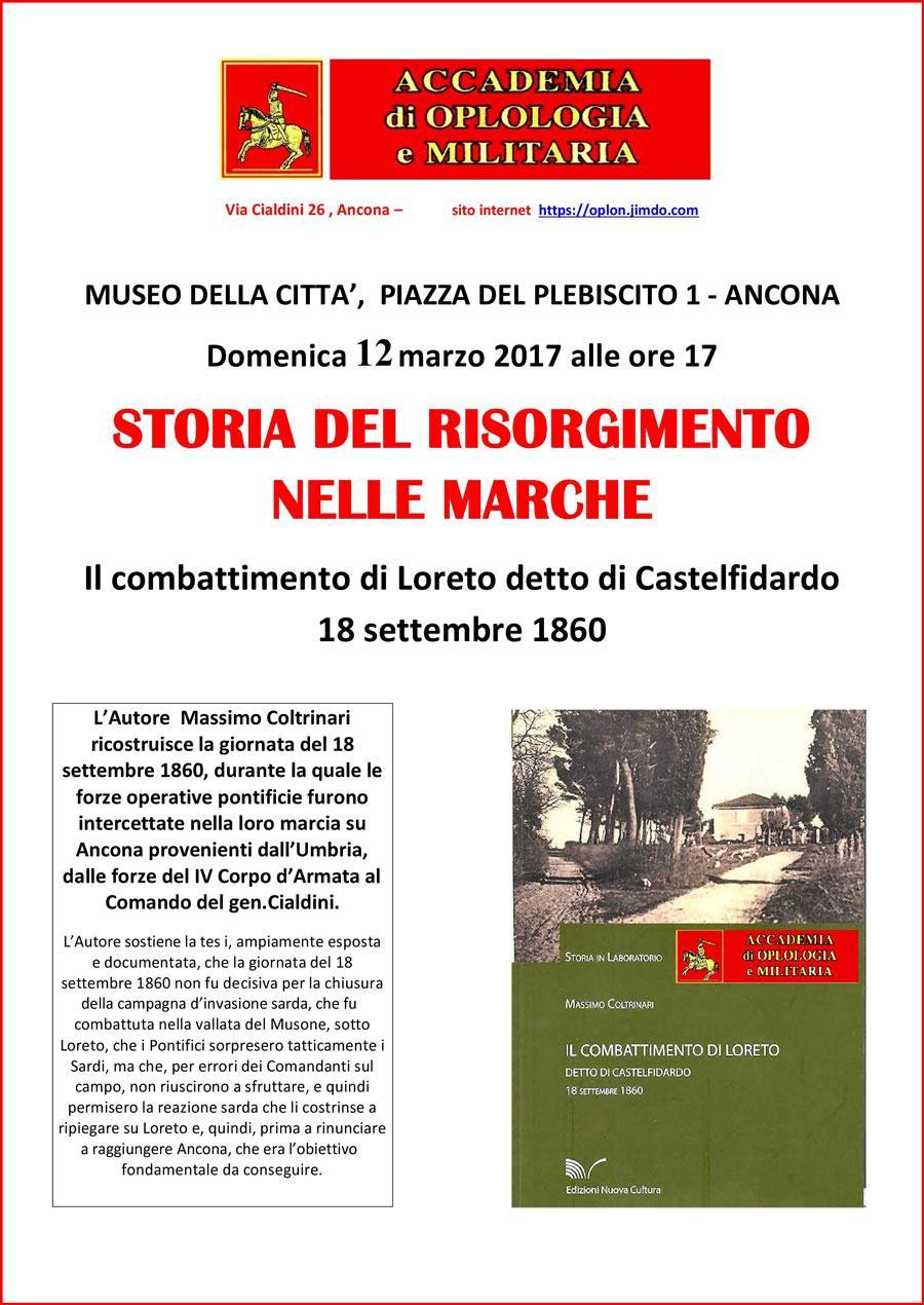 """Presentazione del libro """"Il combattimento di Loreto"""" di Massimo Coltrinari"""