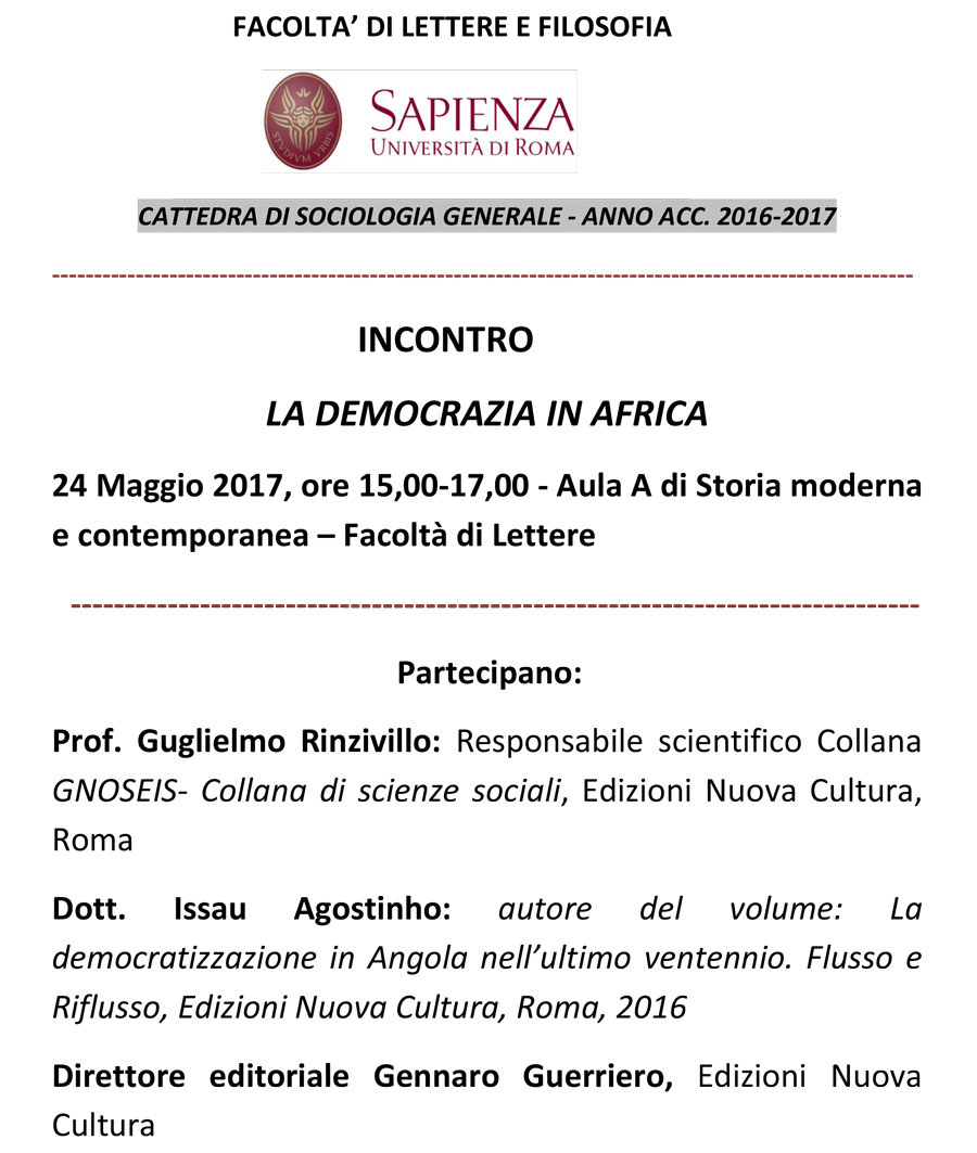 """Presentazione del libro """"La democratizzazione in Angola nell'ultimo ventennio. Flusso e Riflusso"""" di Issau Agostinho"""