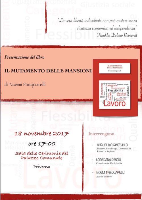 """Presentazione del libro: """"Il mutamento delle mansioni"""" di Noemi Pasquarelli"""