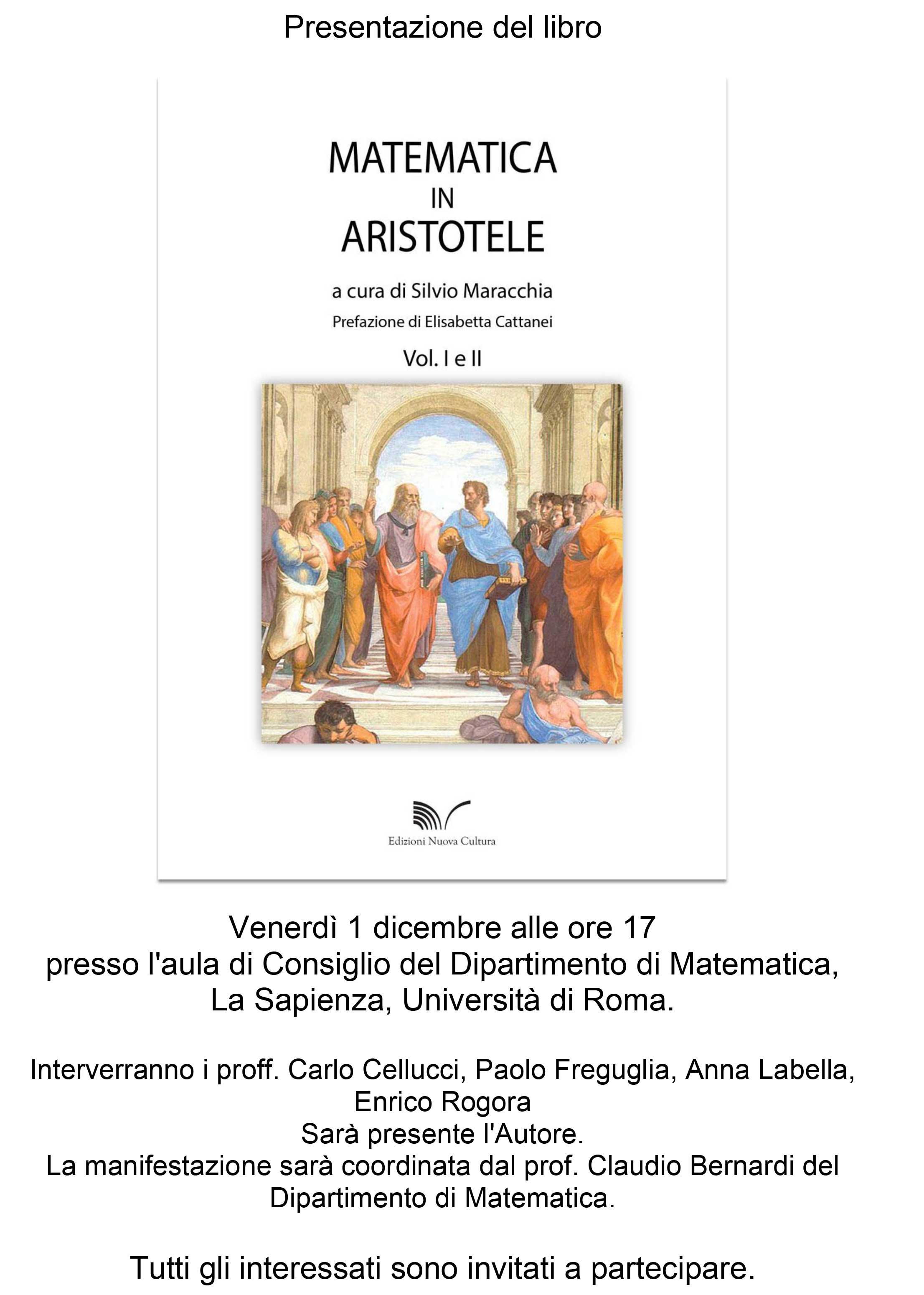 """Presentazione del libro: """"Matematica in Aristotele"""" a cura di Silvio Maracchia"""