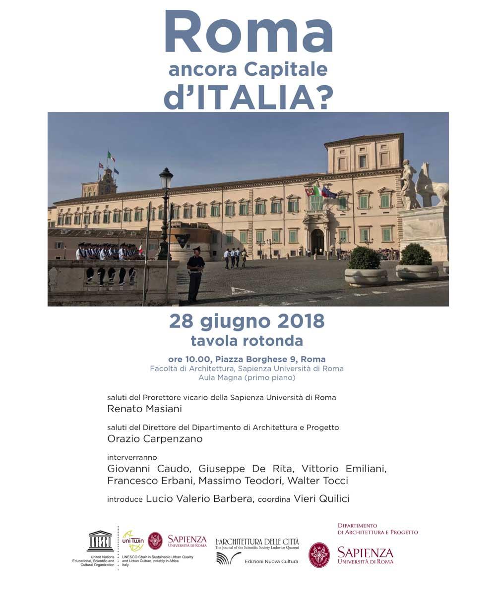 """""""Roma ancora Capitale d'Italia?"""": tavola rotonda alla Facoltà di Architettura, Sapienza Università di Roma"""