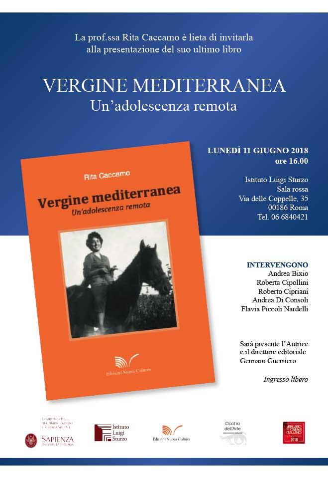"""Presentazione del libro """"Vergine mediterranea. Un'adolescenza remota"""" di Rita Caccamo"""